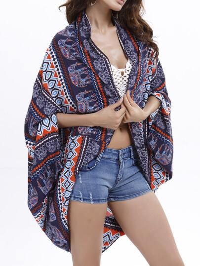 Blue Aztec Print Cocoon Kimono