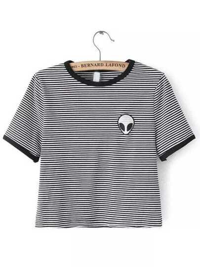 Black White Crew Neck Striped Alien Print Crop T-Shirt