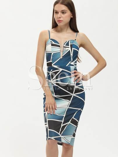 Multicolor Spaghetti Strap Patchwork Color Block Sheath Dress