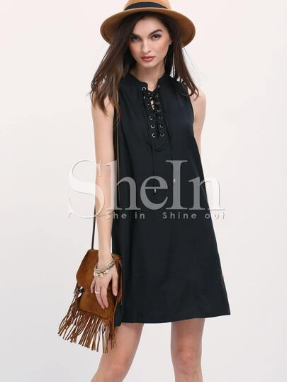 Black Sleeveless Lace Up A Line Dress