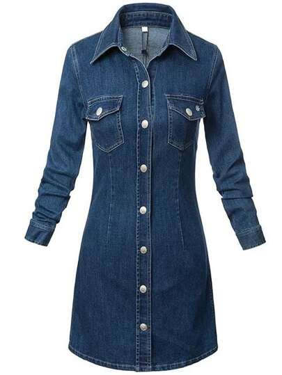 Denim Shirt Dress With Pockets
