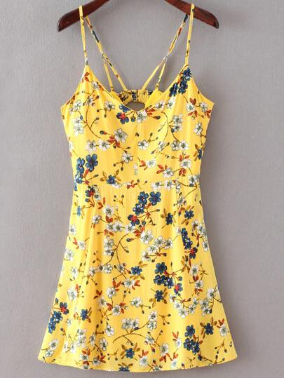 Florals Cut Out Yellow Cami Dress