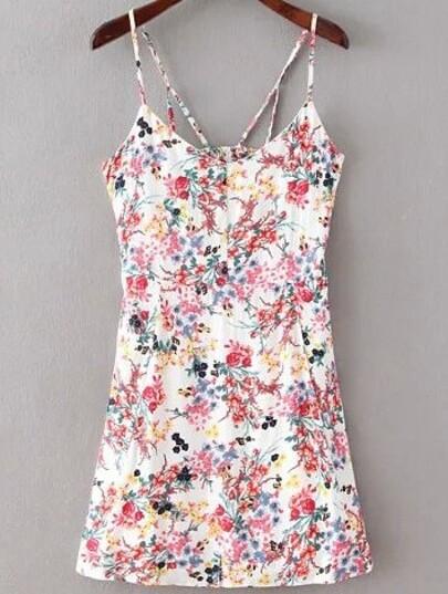 Florals Cut Out White Cami Dress