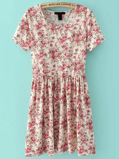 Short Sleeve Florals Pleated Red Dress