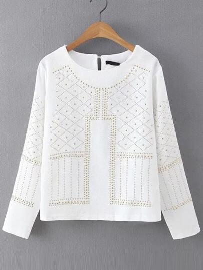 Studded Keyhole White Shirt