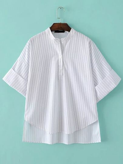Dip Hem Vertical Striped Shirt