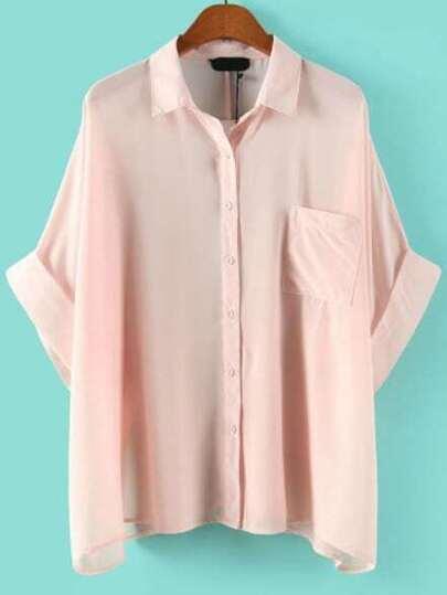 Batwing Pocket Loose Pink Blouse