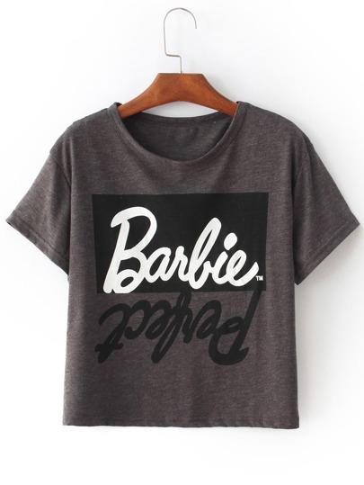 Crop T-shirt Lettere stampa grigio