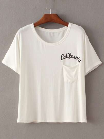 Letters Print Pocket Beige T-shirt