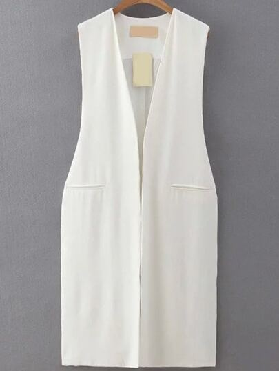 Split Side White Vest