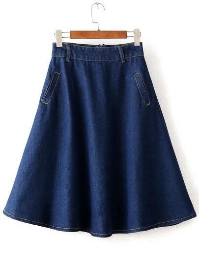 Pockets Flare Denim Skirt