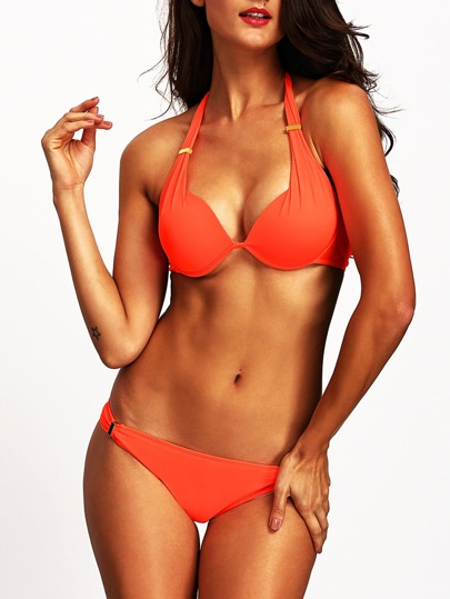 Orange Halter Push Up Bikini Set