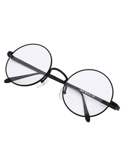 Black Frame Retro Round Sunglasses