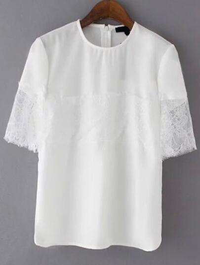 White Lace Insert Zipper Back Shirt