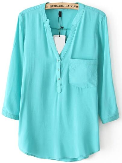 Green V Neck Pocket Shirt