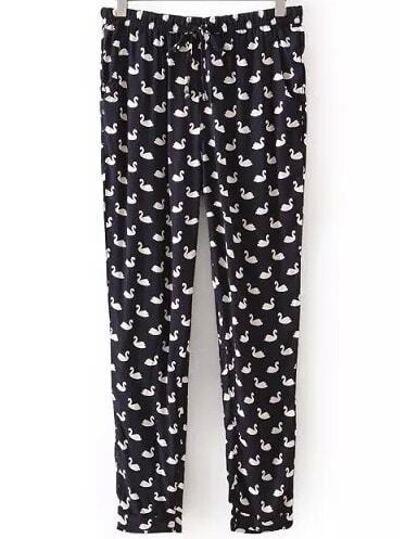 Pantalón cisne estampado casual -negro