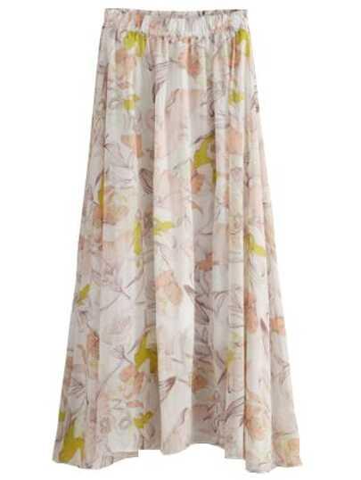 Beige Dandelion Print Chiffon Skirt With Elastic Waist