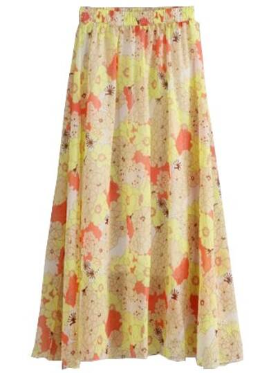 Yellow Chrysanthemum Print Chiffon Skirt With Elastic Waist