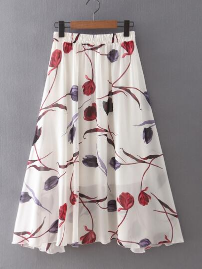 Tulips Print Chiffon Skirt With Elastic Waist