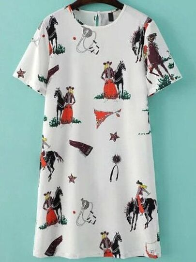 White Horse Print Tunic Dress