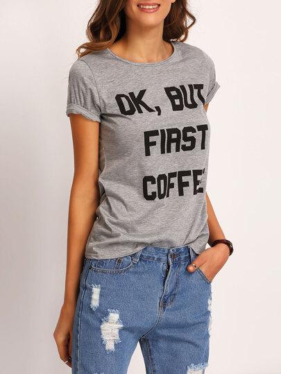 Camiseta letras estampadas -gris