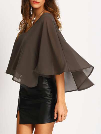 Grey V Neck Chiffon Shirt