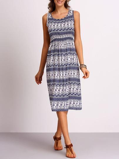Blue Aztec Print Tank Dress
