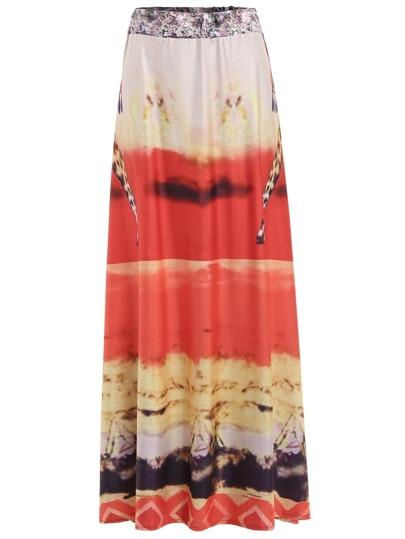 Elastic Waist Print Skirt