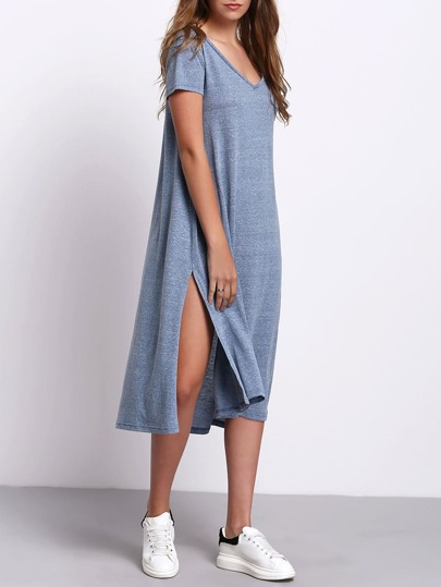 Blue V-neck Side Split Casual Dress