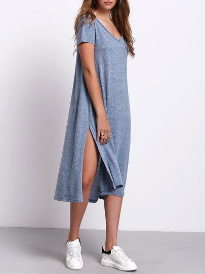V-neck Side Split Casual Dress