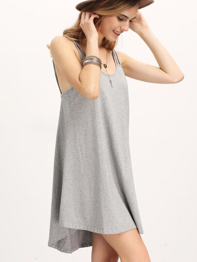 Grey Weaved Strap Casual Shift Dress