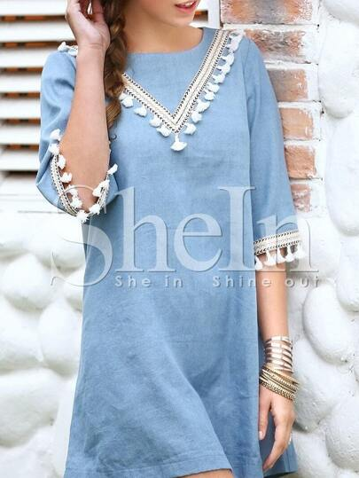Blue Tassel Trim Keyhole Back Shift Dress