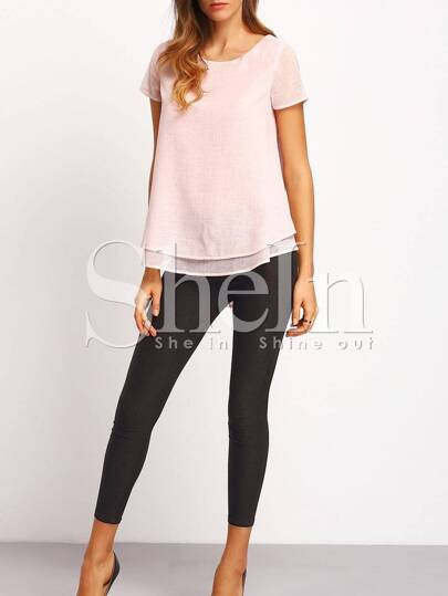 Pink Layered Front Cut Out Back Blouse