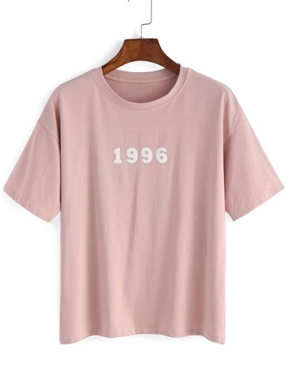 Number And Letter Print T-shirt