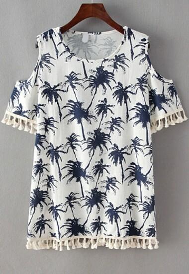 Open Shoulder With Tassel Coconut Trees Print Dress