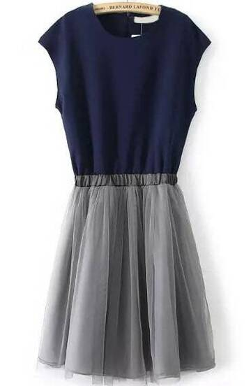 Color-block With Zipper Pleated Dress