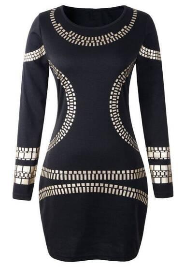 Geometric Print Pencil Black Dress