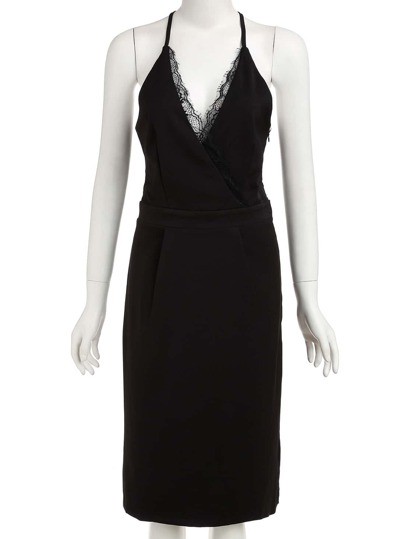 V Neck With Lace Back Split Black Dress