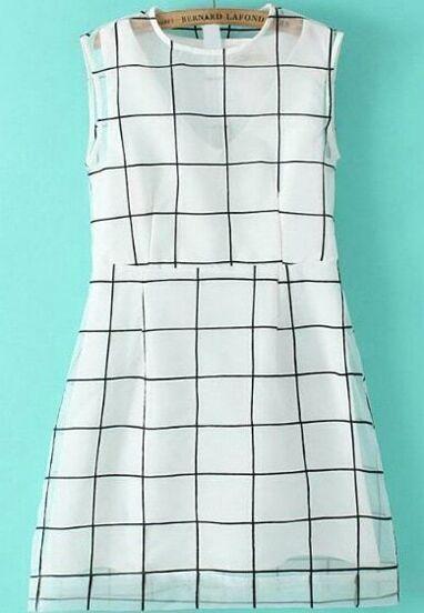 Sleeveless Check Print Organza Dress
