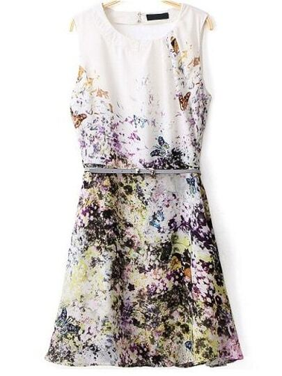 Butterfly Print Hollow Dress