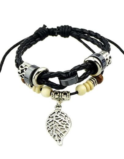 Black Pu Wood Beads Bracelets