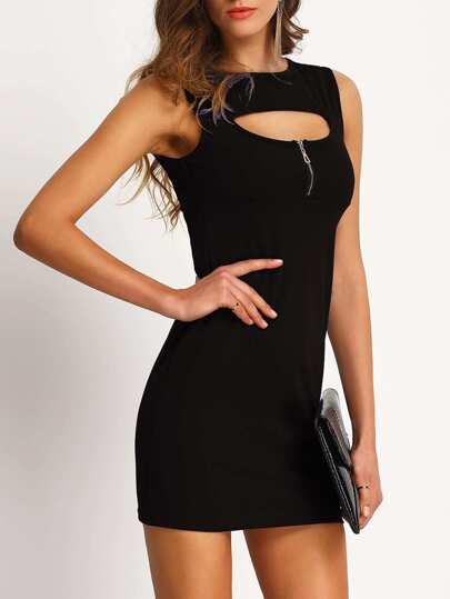 Vestido cremallera entallado -negro
