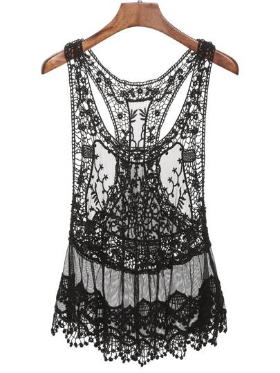 Black Lace Crochet Tank Top
