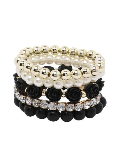 Black Layered Beaded Stretch Bracelet