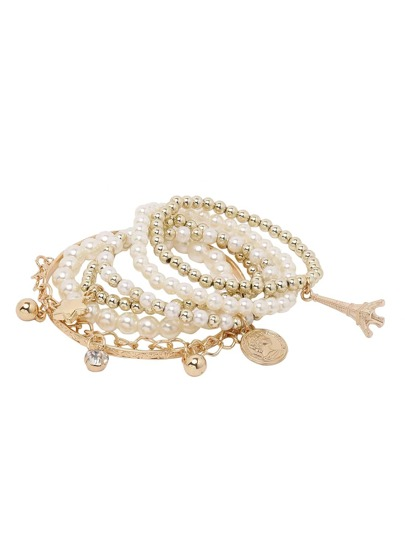 Golden Beaded Bracelet Set With Charms