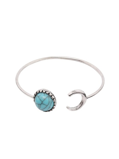 Turquoise Featured Silver Open-end Bangle