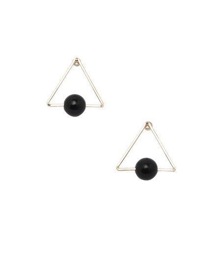 One Black Pearl Beaded Triangle Earrings