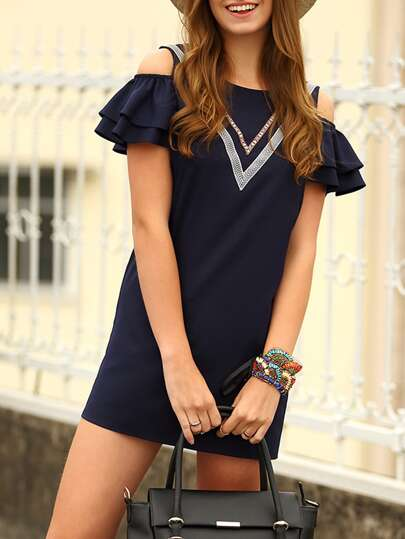 Navy Cold Shoulder Layered Sleeve V Panel Shift Dress