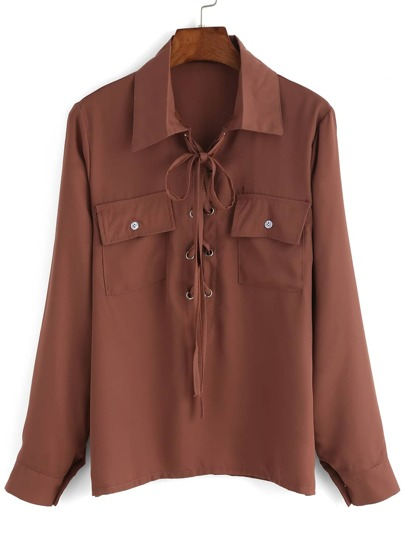 Lace Up Equipment Blouse