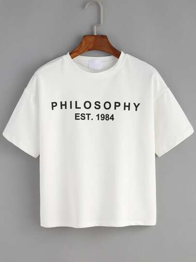 T-shirt bianco con stampa lettera
